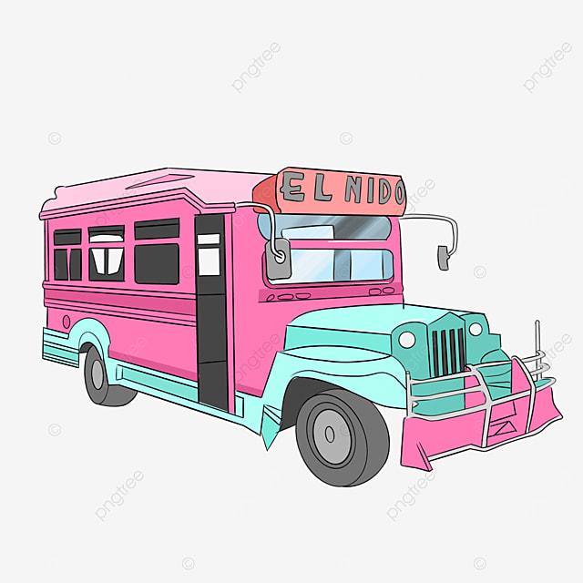 pink jeepney clip art