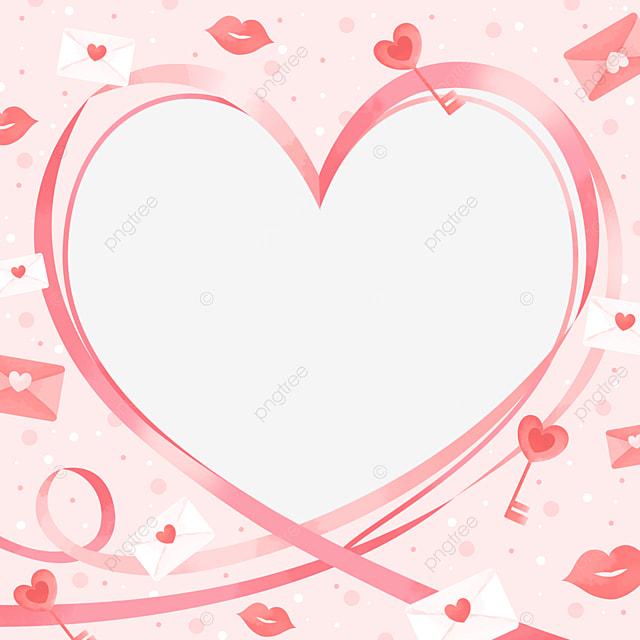 romantic cute pink white valentine border