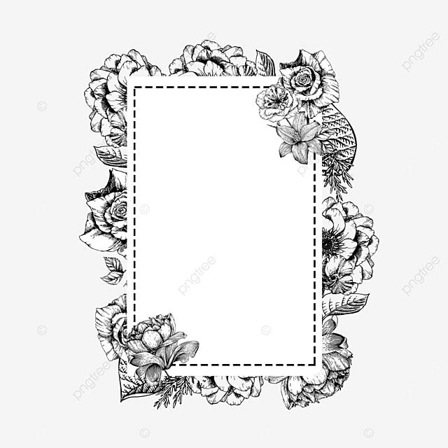 romantic wedding lineart floral border