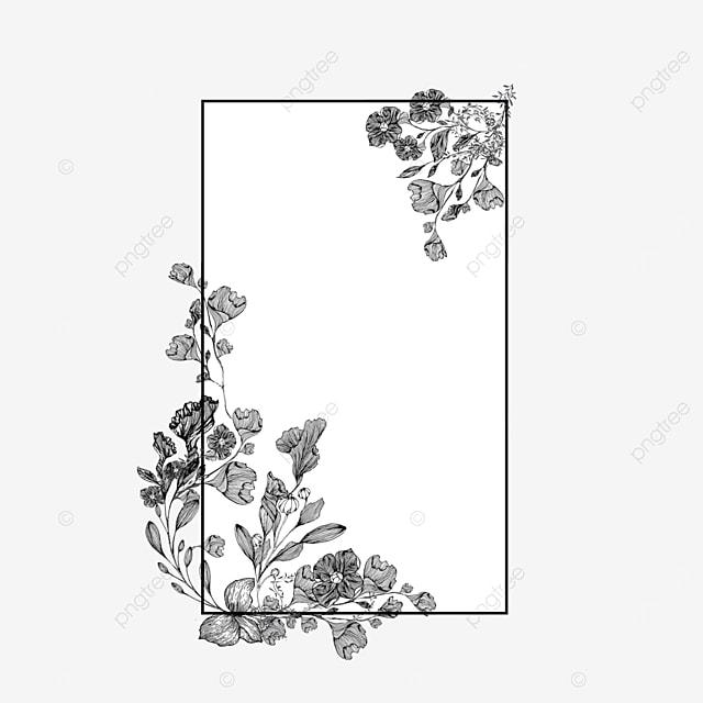 simple wedding lineart flower border