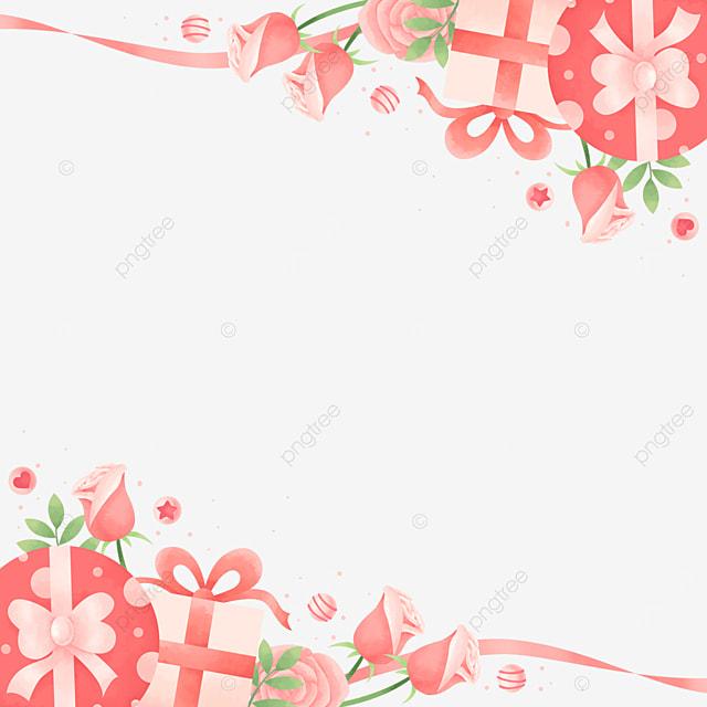 vintage beautiful gift box rose pink valentine border