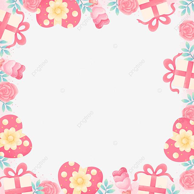 vintage gift box rose pink valentine border
