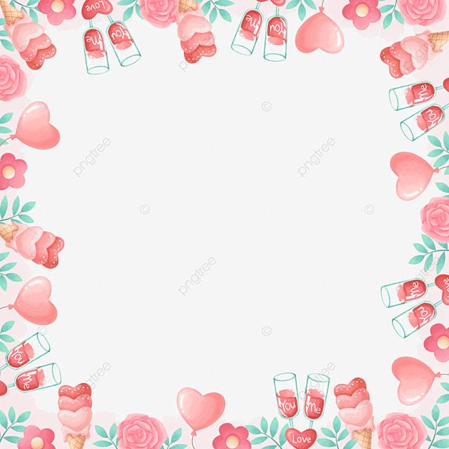 vintage red wine rose pink valentine border