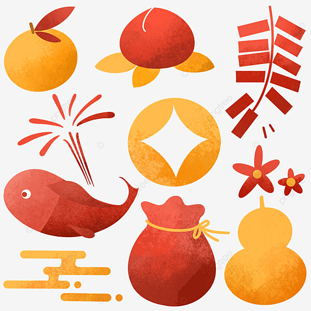 watercolor style chinese new year objects