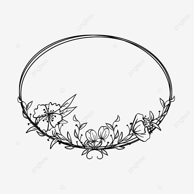 wedding lineart floral oval border