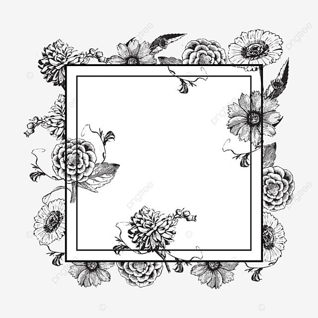 wedding lineart floral rectangle border