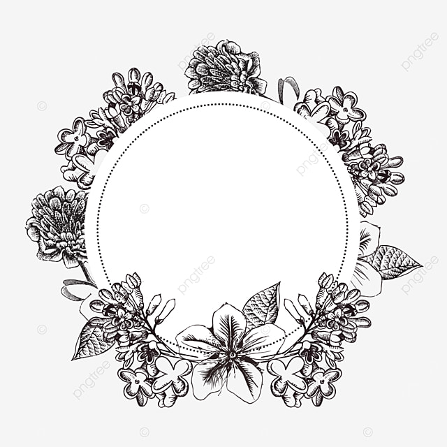 wedding lineart floral round border