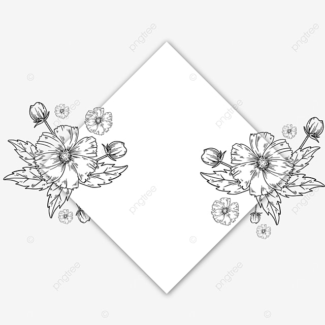 wedding lineart flower rhombus border