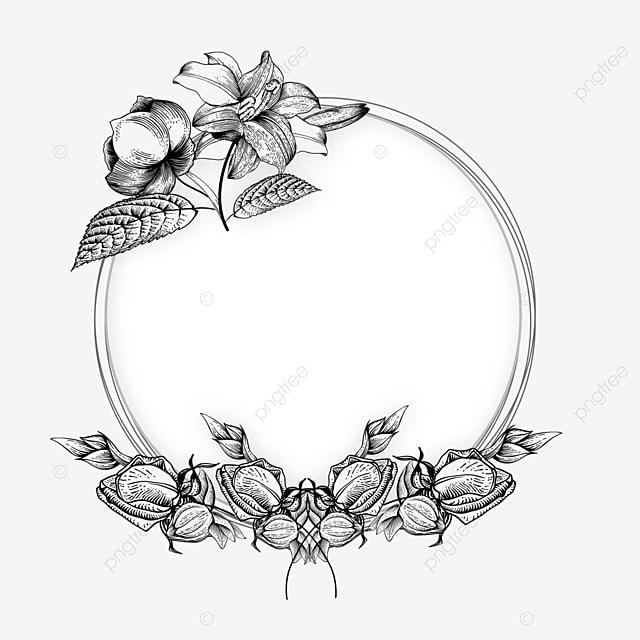 wedding lineart texture floral border