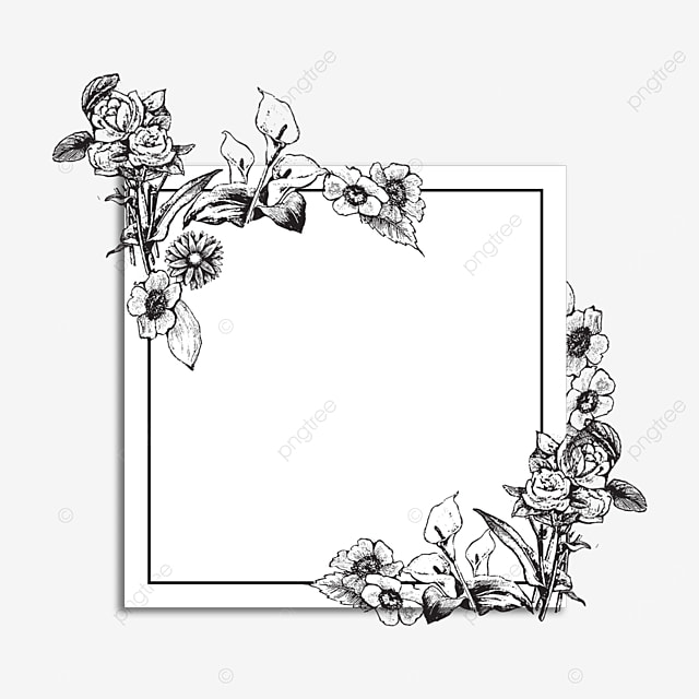wedding romantic lineart floral border