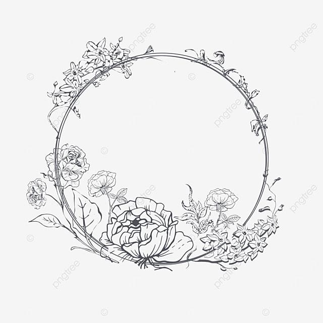 wedding simple lineart flower border
