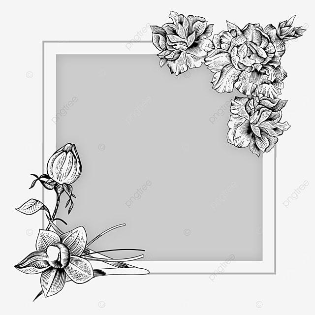 wedding textured lineart flower border