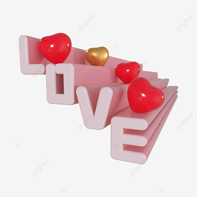 3d red love heart