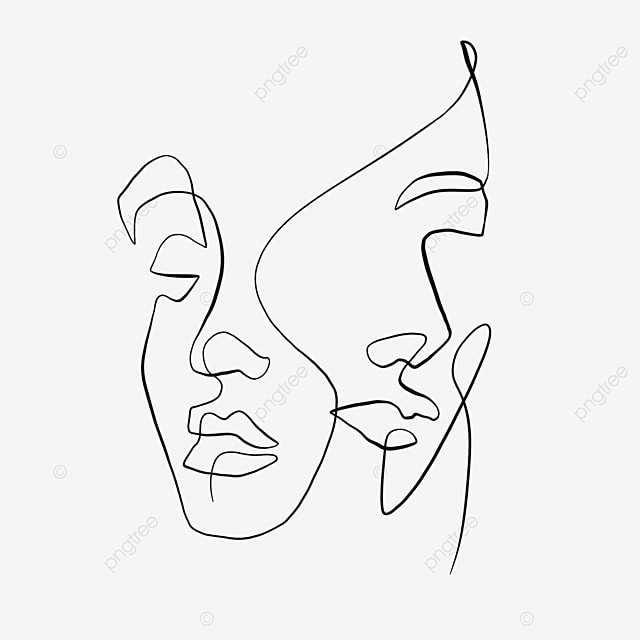 abstract brushstroke couple face valentine line drawing