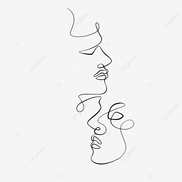 abstract couple side face valentine line drawing