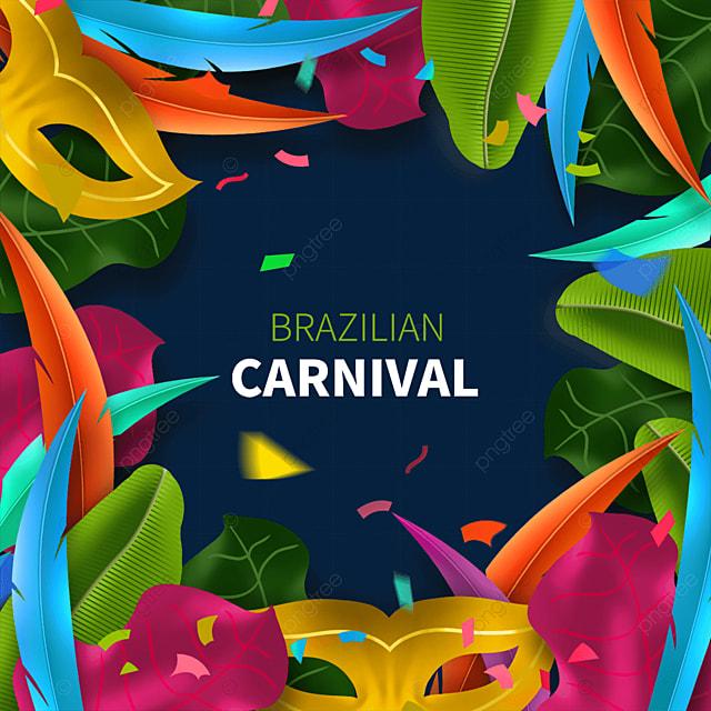 abstract ornate brazilian carnival mask border