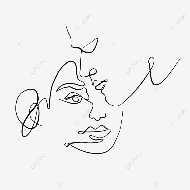 abstract side face valentine line drawing
