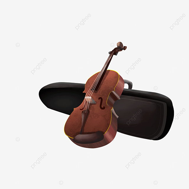 black box brown four stringed instrument violin clipart