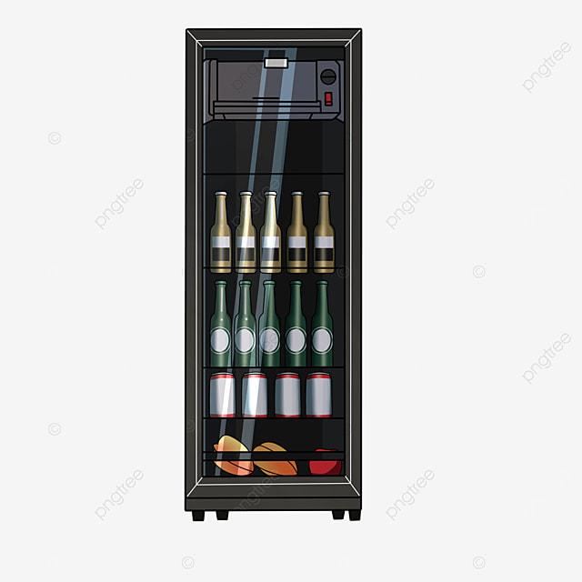 black glass door refrigerator clip art