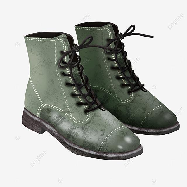 black laces retro green shoes fashion dress boots clipart
