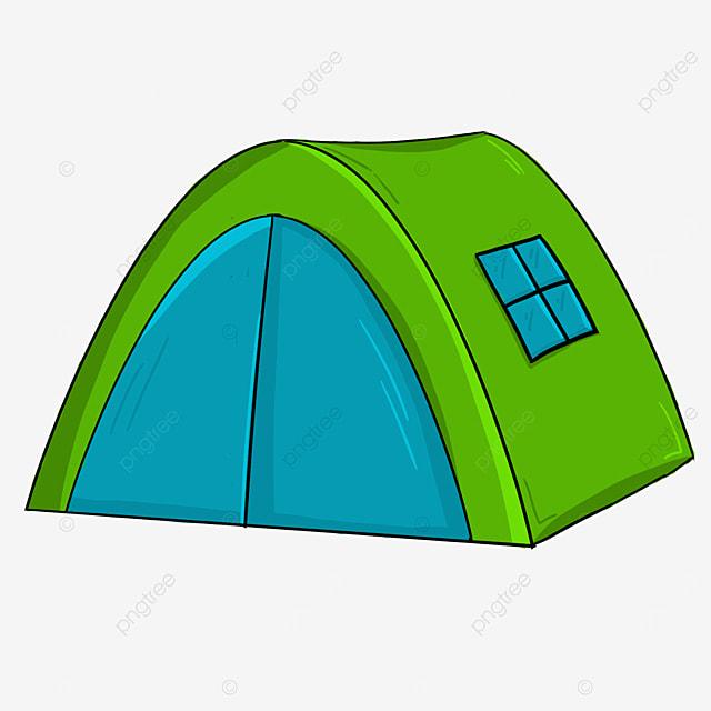 blue and green contrast columnar tent clip art