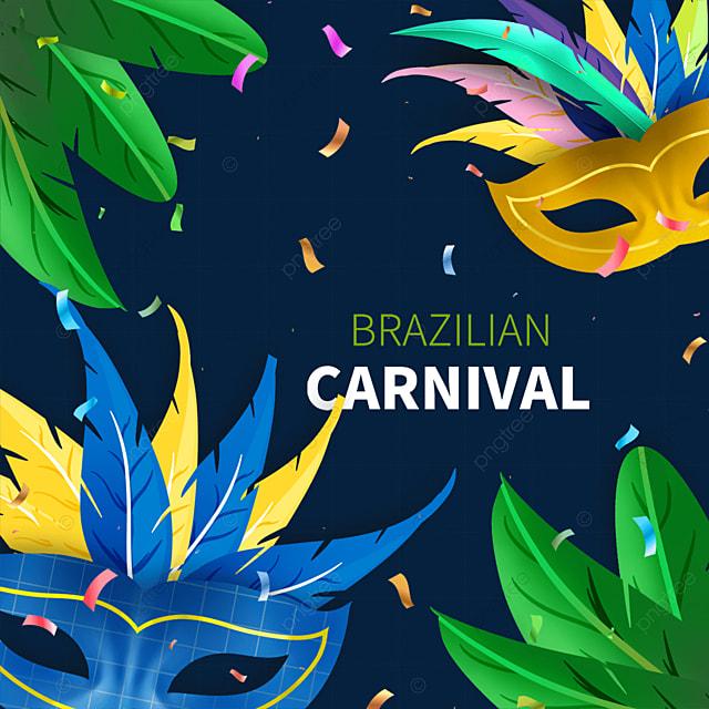 blue and yellow brazilian carnival mask border