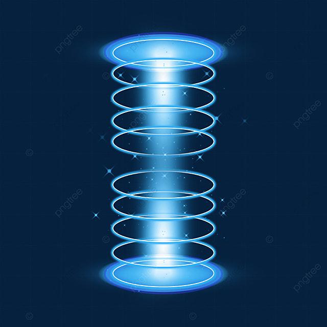 blue circle bottom and top sci fi magic light effect