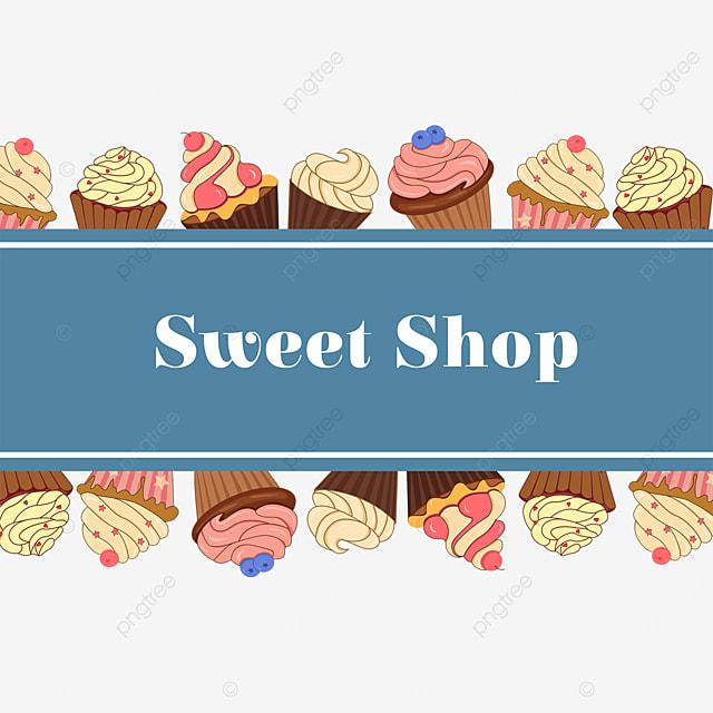 blue cupcake bar border