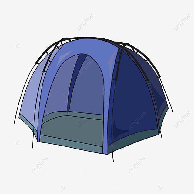 blue cute semicircle tent clipart