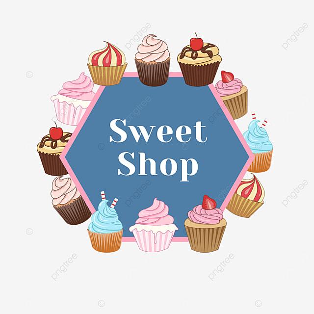 blue dessert cake shop border