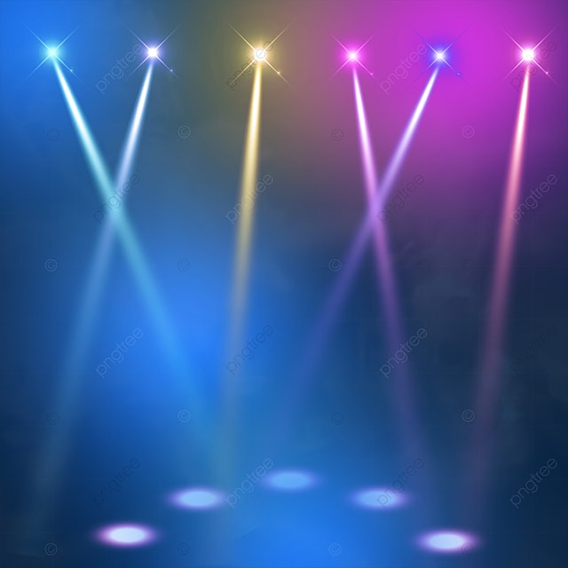 blue yellow and pink stage colored spotlights
