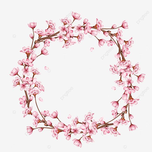 branch garland spring cherry blossom border