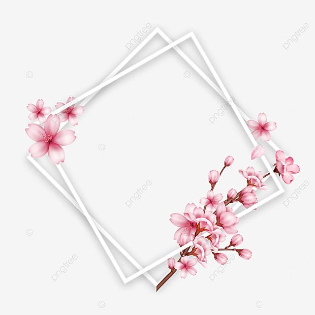branch spring cherry polygon border