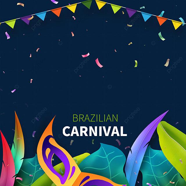 brazilian carnival mask border with bunting and confetti