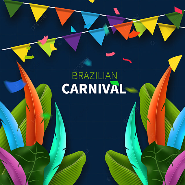 brazilian carnival mask border with colorful feathers and plants