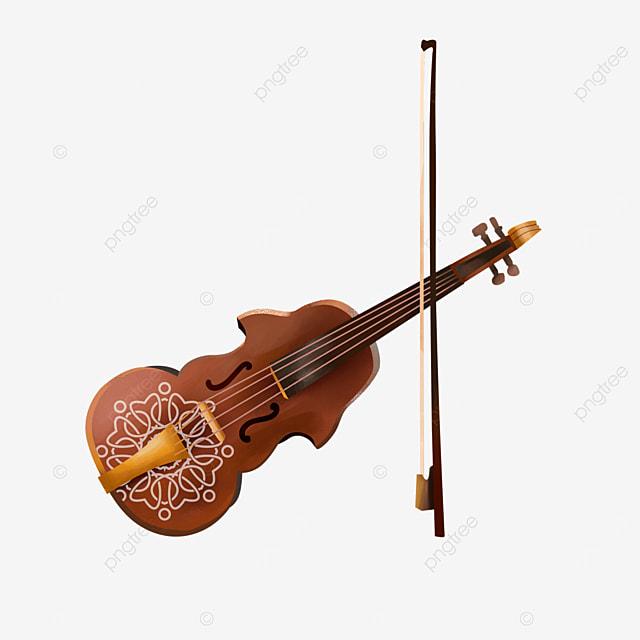 brown elegant classical western music violin clipart