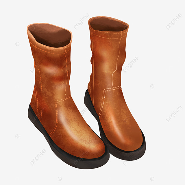 brown leather black sole boots clipart