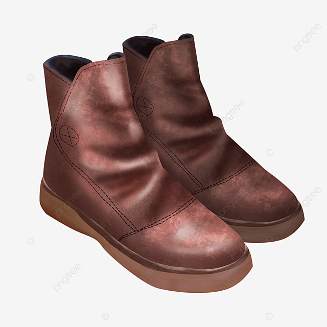 brown leather fold boots clipart