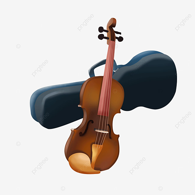 brown traditional western musical instrument violin clipart