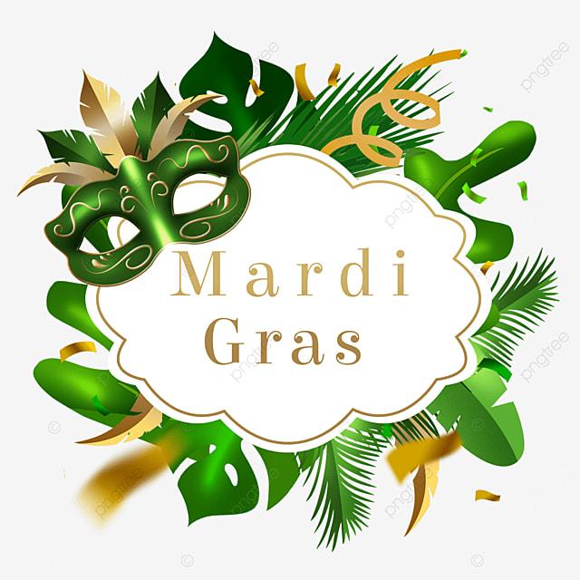 carnival mask border green leaves