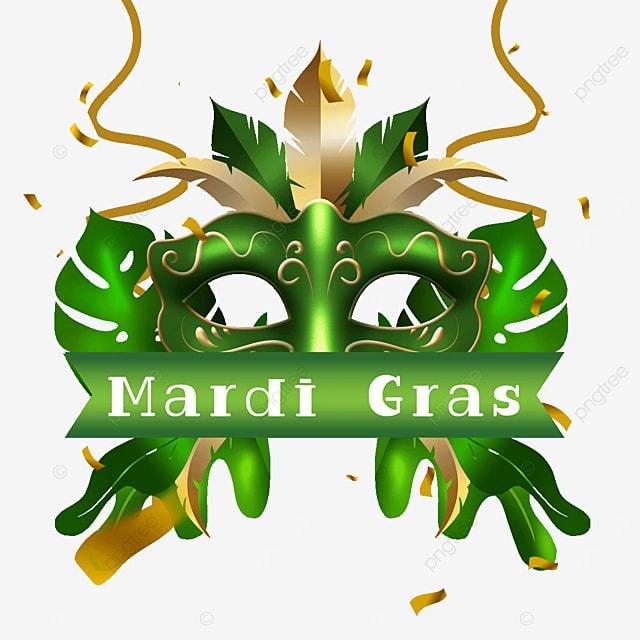 carnival mask border green streamer