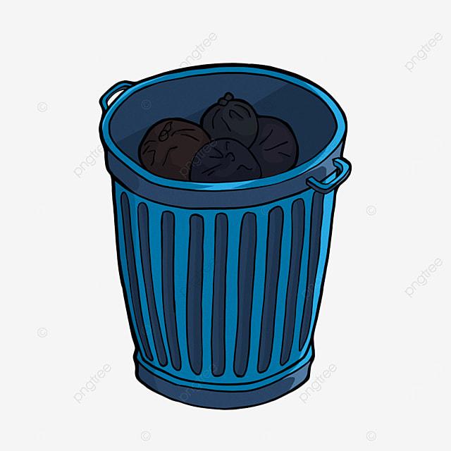 cartoon blue trash bin clipart