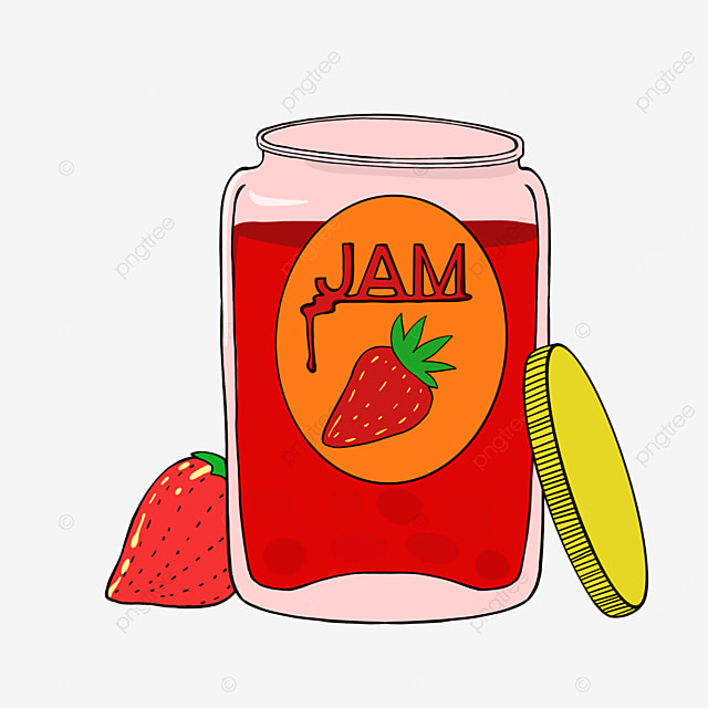 cartoon glass bottle with strawberry jam clipart