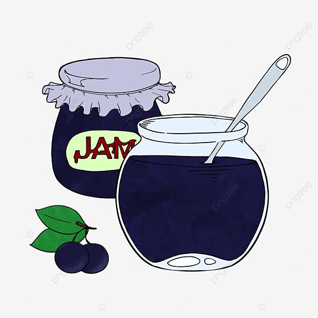 cartoon style blueberry jam clipart