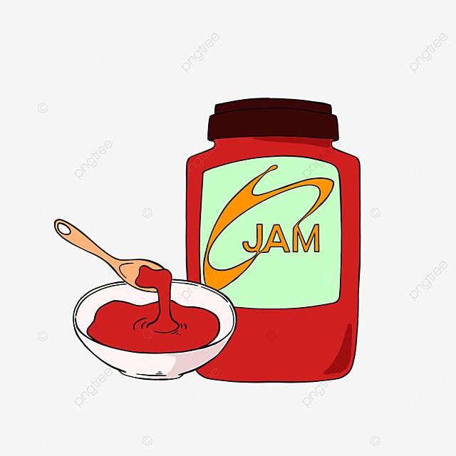 cartoon style strawberry jam clipart