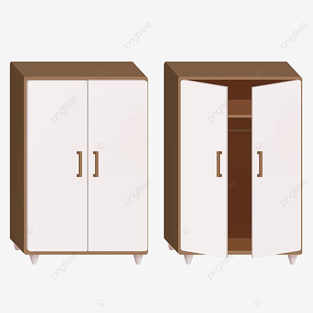 cartoon white double door brown cabinet clipart