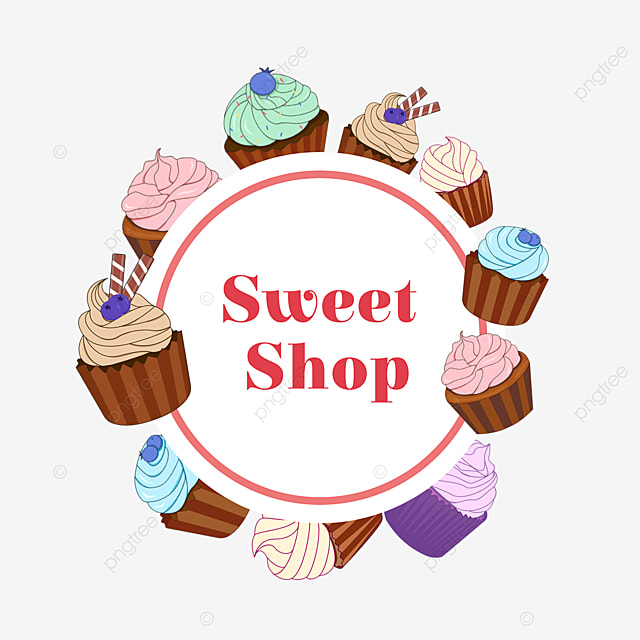 colorful cupcake shop border