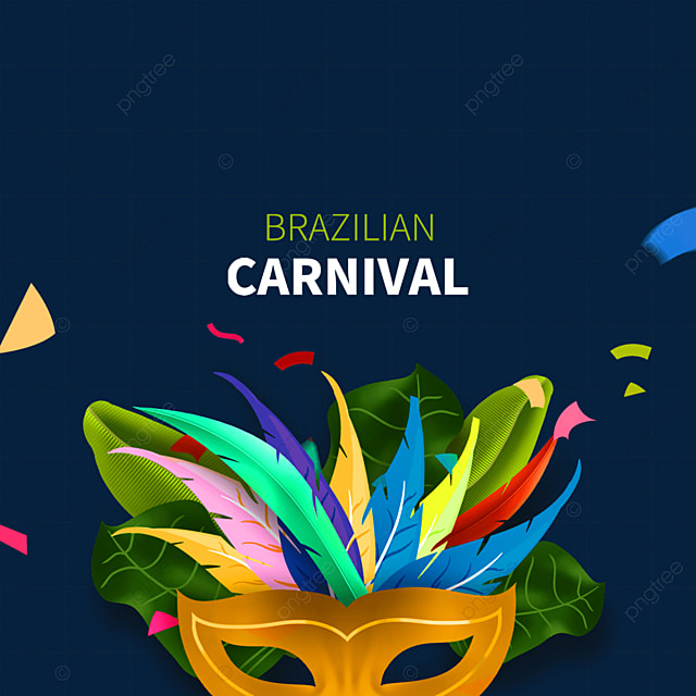colorful feather brazilian carnival mask border