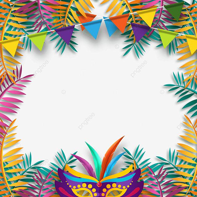 colorful plant decoration brazilian carnival mask border