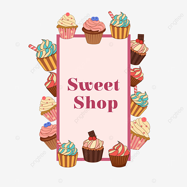colorful small cake dessert shop border